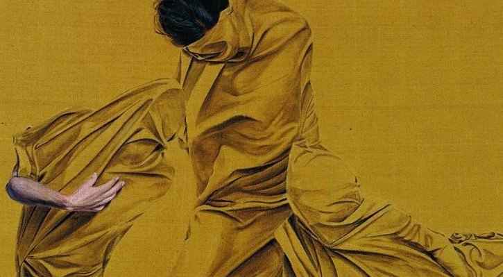 """Detalle de la exposición.  """"Triada"""" de Cristina Gaméz 167 x 130 cm 2014. Cortesía del Museum."""