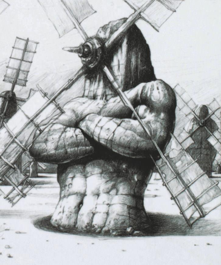 Ilustración de El Quijote perteneciente a la exposición. Fotografía cortesía del Instituto Cervantes.