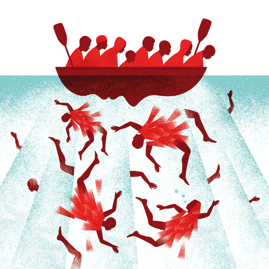 Ilustración de Luis Demano, participante en la exposición 'Refugio ilustrado'. Fotografía cortesía de APIV.