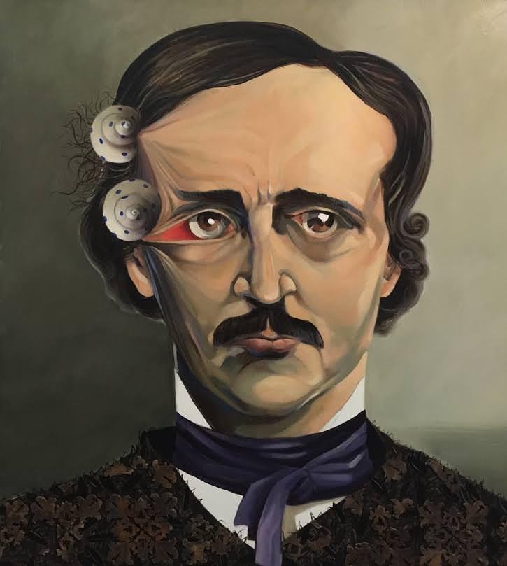 Edgar Allan Poe, por Quique Marzal. Imagen cortesía de Galería Mr. Pink.