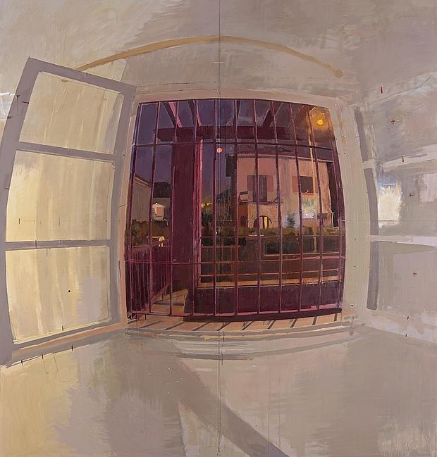 Imagen de 'Ventana de noche', de Antonio López, que puede contemplarse en la exposición 'Realistas de Madrid'. Fotografía cortesía del Museo de arte Thyssen-Bornemisza.