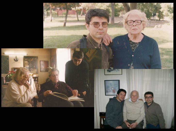 Diversas imágenes del álbum personal de Aldo Alcota. De izquierda a derecha, con Anne Éthuin, Édouard Jaguer, Stella Díaz Varín, Carlos Sedille y Jean Benoît. Fotografías cortesía del artista.