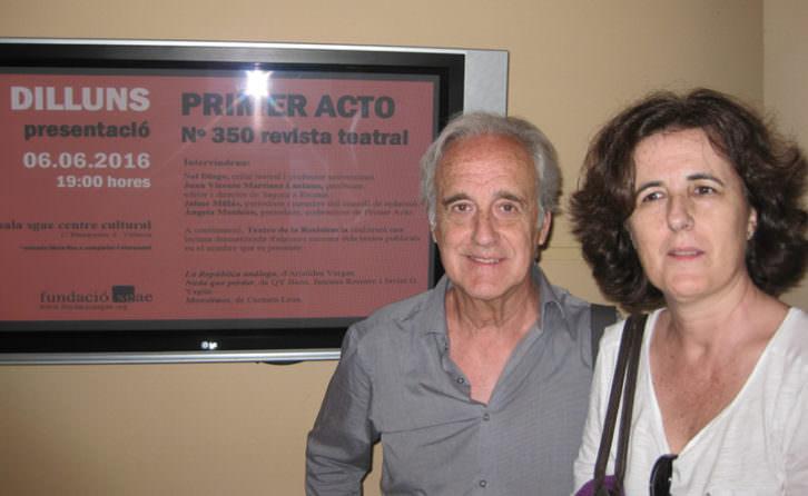 Jaime Millás y Ángela Monleón en la presentación del número 350 de la revista Primer Acto. Imagen cortesía del autor.
