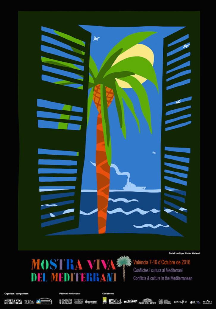 Cartel de Mostra Viva del Mediterrani 2016, obra de Javier Mariscal. Imagen cortesía de la organización.