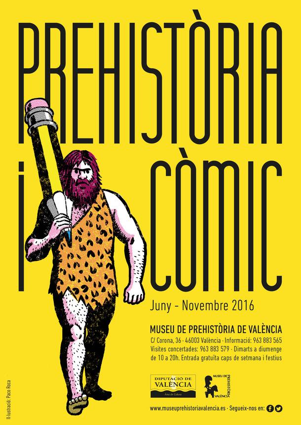 Cartel de Prehistoria y cómic del Museo de Prehistoria de Valencia.