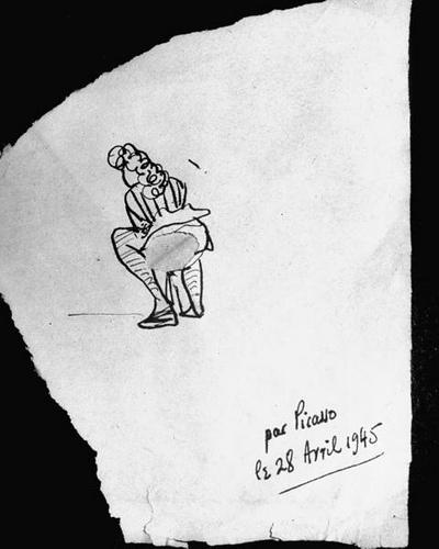 La servilleta de Picasso que puede verse en la red, realizada sobre un papel que parece más bien abrasivo y con su firma autógrafa.