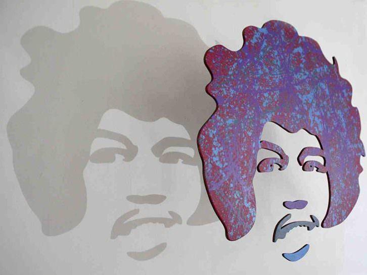 Jimi Hendrix en 'Black is back', de Luis Rivera. Imagen cortesía de la galería Alba Cabrera.