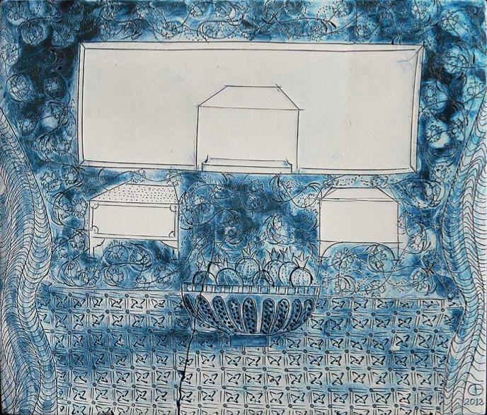 Obra de la serie 'Lugares donde estaré', de Cristina Bolborea. Imagen cortesía del Museo Nacional de Cerámica González Martí.