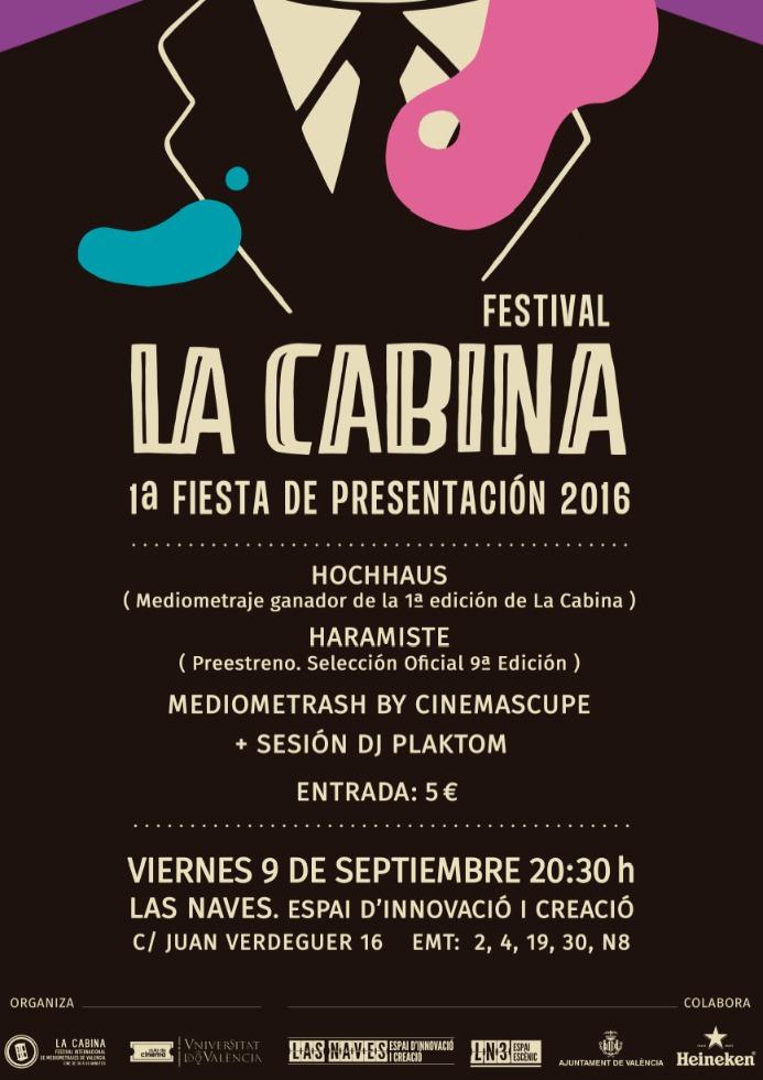 Cartel de la fiesta de presentación de La Cabina. Imagen cortesía del festival.