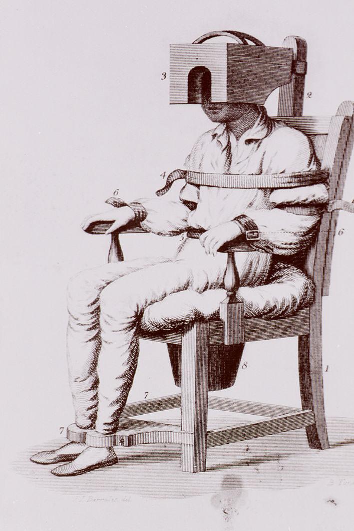 Silla tranquilizadora fabricada por el doctor Benjamin Rush en 1811. Imagen cortesía del Palau de Cerveró.