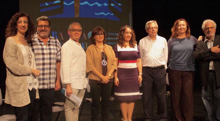 Presentación Mostra Viva del Mediterrani. De izquierda a derecha: Maite Ibañez, Vicent Tamarit, Abel Guarinos, Carmen Amoraga, Glòria Tello, Antonio Ariño, Giovanna Ribes y Vicent Garcés.
