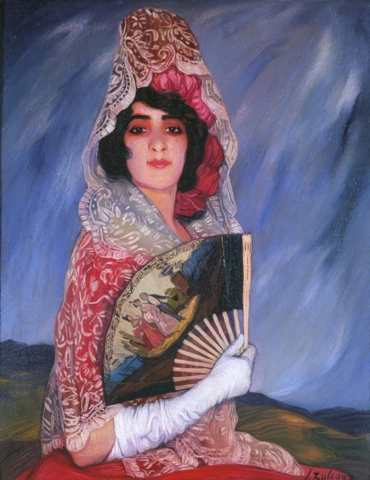 Mi prima Cándida con mantilla, de Ignacio Zuloaga. Imagen cortesía del Muvag.