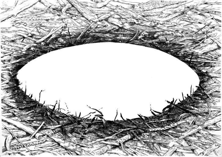 Pabilo, de Cristina Ramírez. 86 x 120 cm. Técnica mixta sobre papel.