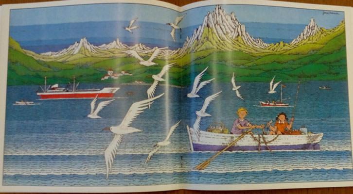 Ilustración de José Ramón Sánchez de uno de los libros de su exposición. Imagen cortesía del Palacio de la Magdalena.