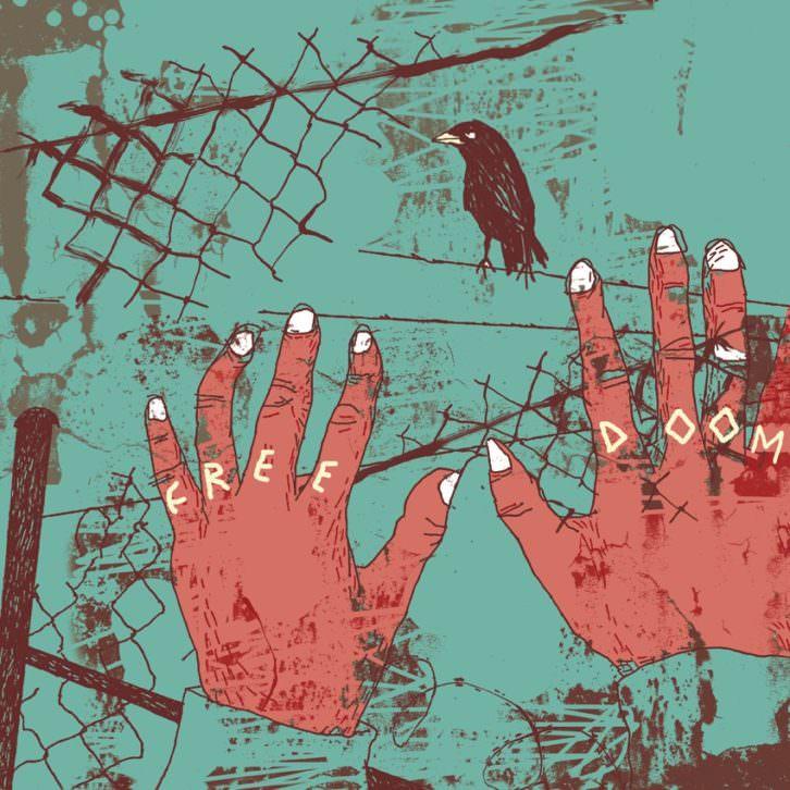 Ilustración de Ángel Ventura, perteneciente a la exposición  'Refugio ilustrado. Entre el ataúd y la maleta', de la APIV, en el vestíbulo de la Escola d'Art i Superior de Disseny de Castelló (EASD). Fotografía cortesía de los organizadores.
