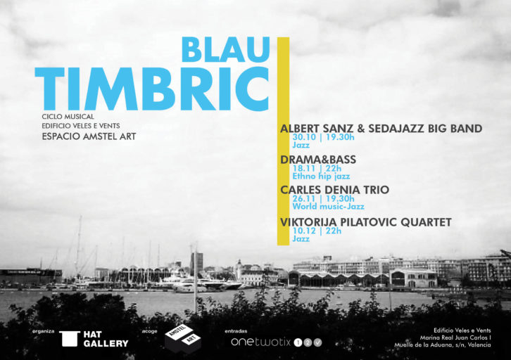 Cartel del ciclo musical Blau Tímbric, por cortesía de Hat Gallery.