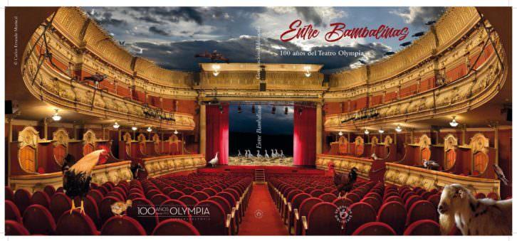 Cubierta del libro 'Entre bambalinas' por el centenario del Teatro Olympia. Imagen cortesía del Olympia.