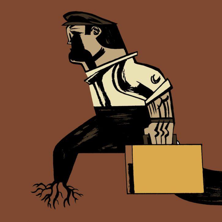 Ilustración de Javier Olivares, perteneciente a la exposición  'Refugio ilustrado. Entre el ataúd y la maleta', de la APIV, en el vestíbulo de la Escola d'Art i Superior de Disseny de Castelló (EASD). Fotografía cortesía de los organizadores.