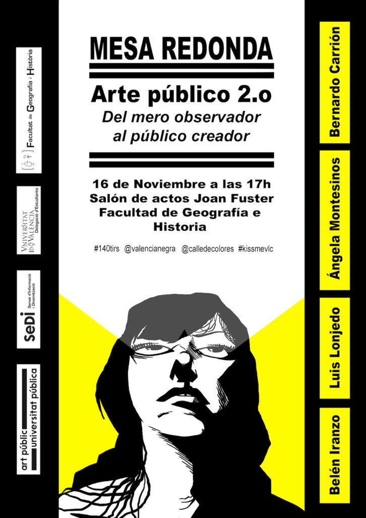 Cartel mesa redonda Arte público 2.0. Diseñado por Boris Ramírez.