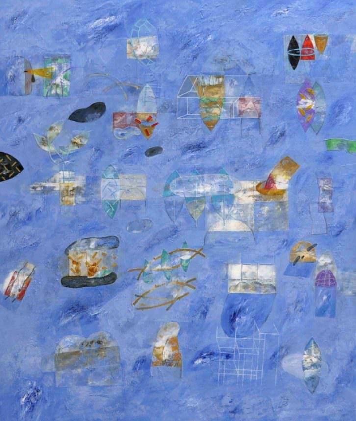 Naturaleza en azules, obra de Horacio Silva. Imagen cortesía de galería Shiras.
