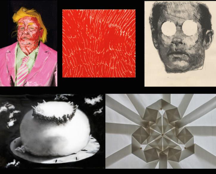 Imagen de diversas obras de artistas presentes en Hybrid (de arriba a abajo y de izquierda a derecha: Marie-Lou Desmeules, Diora Reshetnikova, Yassine Chouati, Sergio Frutos y Pierre Louis Geldenhuys). Fotografías cortesía de Hybrid.