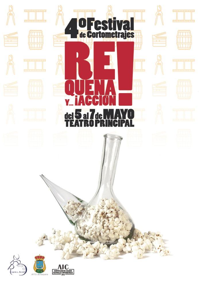 Cartel de la cuarta edición del Festival de Cortometrajes Requena y...¡Accion! obra de Ángel G. Gómez. Imagen cortesía del festival.