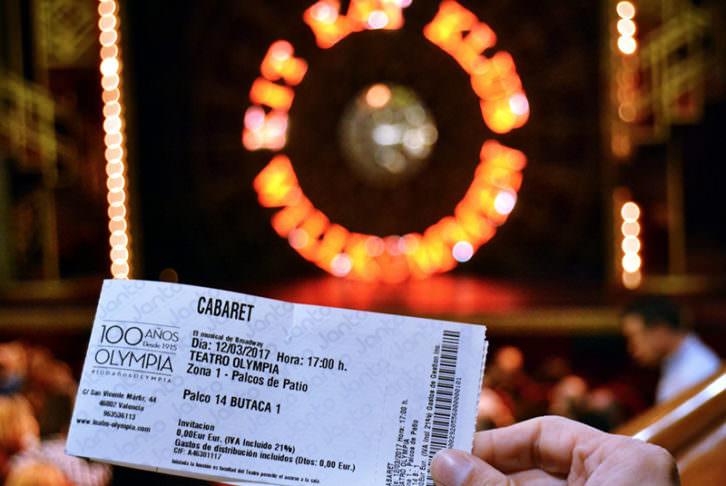 Entrada al musical Cabaret en el Teatro Olympia. Fotografia: Malva.