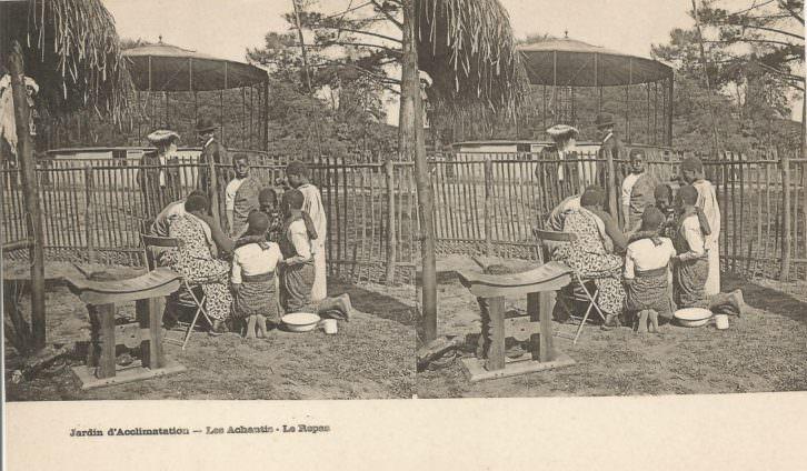 Jardin de Aclimatación de París. Los ashanti. La comida. Imagen cortesía del Museu Valencià d'Etnologia.