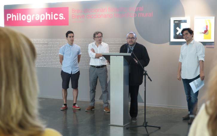 Responsables del MuVIM y de la exposición durante la presentación de la misma. Imagen cortesía del MuVIM.