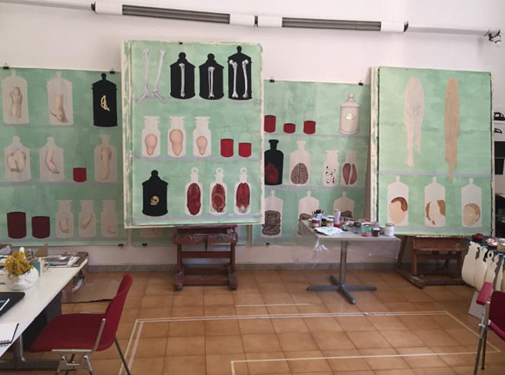 Estudio de la artista Rosalía Banet en la Academia de España en Roma. Fotografía de Rosalía Banet por cortesía de la propia autora.