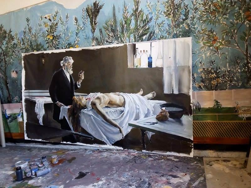Estudio de Santiago Ydáñez. Detalle de la obra 'Y tenía corazón' (en proceso de ejecución). Fotografía: Maite Ibáñez.