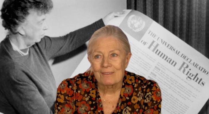 Vanessa Redgrave frente a una imagen de Eleanor Roosevelt anunciando la Declaración Universal de los Derechos Humanos en 1948, perteneciente al documental 'Sea Sorrow'. Fotografía cortesía del festival.