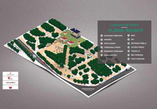 Plano del recinto festivo de Jardines de Viveros. Imagen cortesía de Conciertos de Viveros.