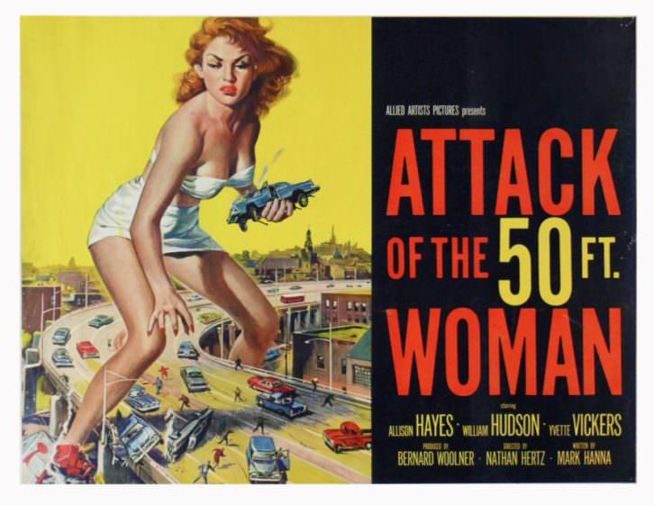 Cartel de El ataque de la mujer de 50 pies'.