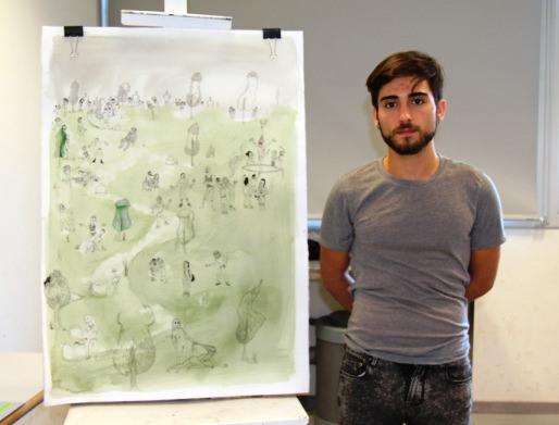 """Darío López Martínez ante su dibujo, """"Me parecía violento titular la obra"""". Fotografía, cortesía Facultad de Bellas Artes San Carlos."""