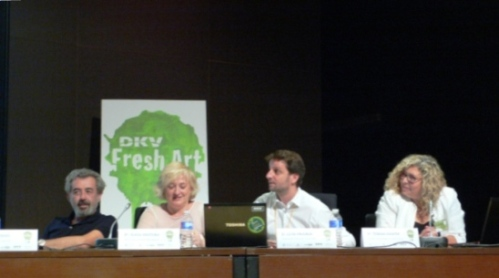Pepe Galindo, Alicia Ventura, Luis Framis, y Teresa Cháfer en un instante del acto de entrega de premios.