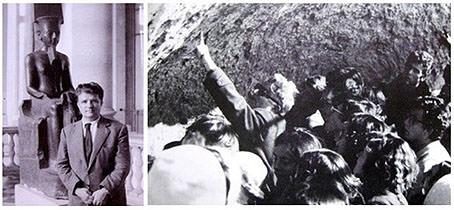Rafael Pérez Contel (izq.) en el Museo del Louvre (año 1957). Con alumnos del Instituto Josep de Ribera en viaje de estudios en Hellín (años 70). Imagen cortesía de Alejandro Macharowski.