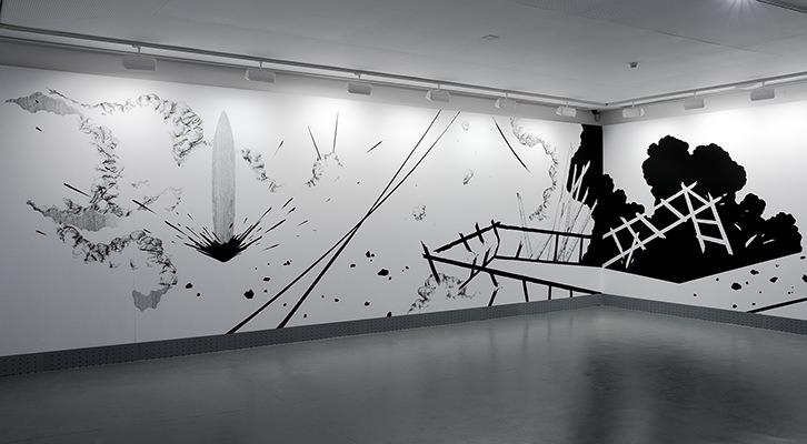 Fragmento de la exposición, y de la obra  '' Un zumbido durante días''. Imgen: cortesía de Cristina Ramírez