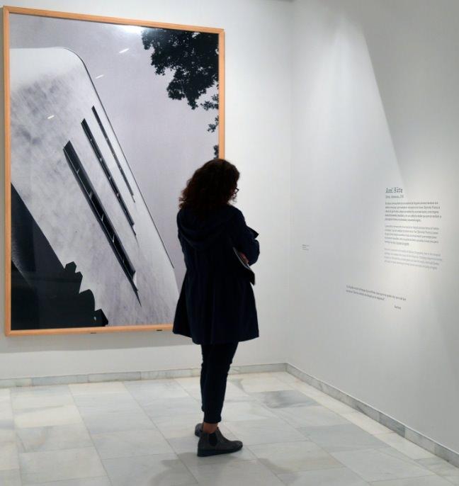 Una joven junto a una obra de Axel Hütte en la exposición Arte contemporáneo (1984-2010). Imagen cortesía de Fundación Bancaja.