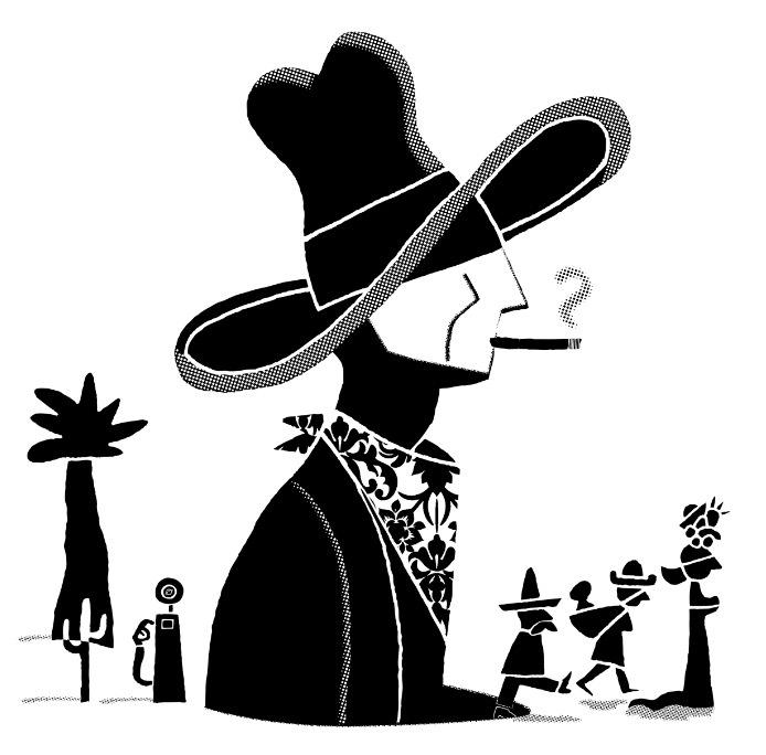 Detalle de la ilustración del cartel de la exposición 'Elegí un mal día para dejar de fumar', obra de Carlos Ortin. Imagen cortesía del autor.