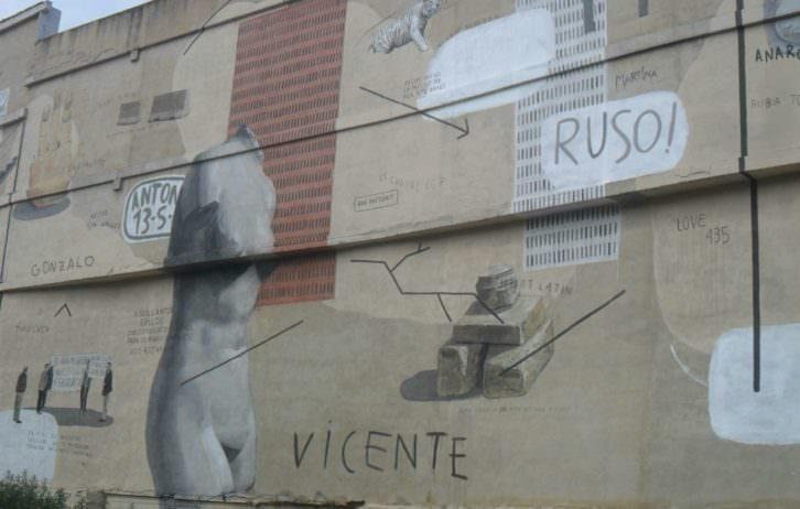 Detalle del mural de Escif en la pared trasera del IVAM.