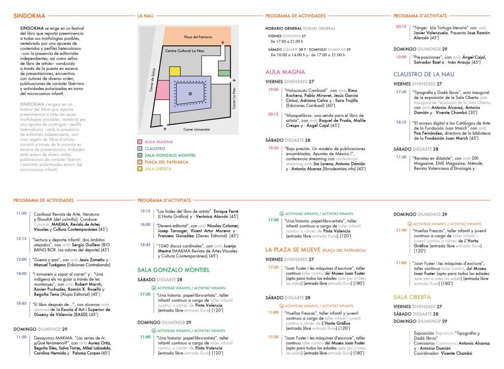 Cronograma de actividades del Festival del Libro Sindokma.