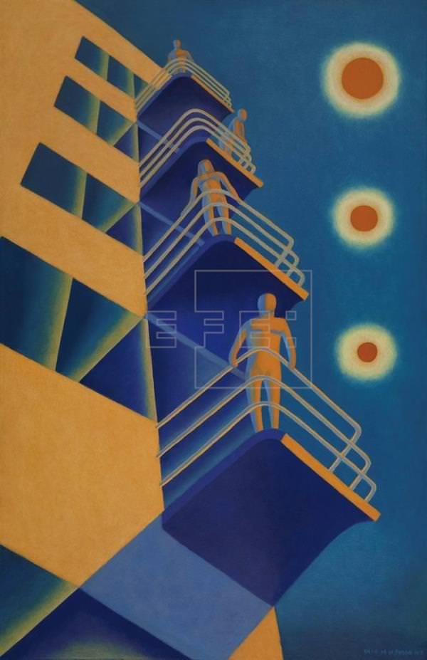 Imagen de la obra 'Estancia en la Bauhaus', de Paco de la Torre, presente en 'Arquitecturas pintadas'. Fotografía cortesía de los organizadores.