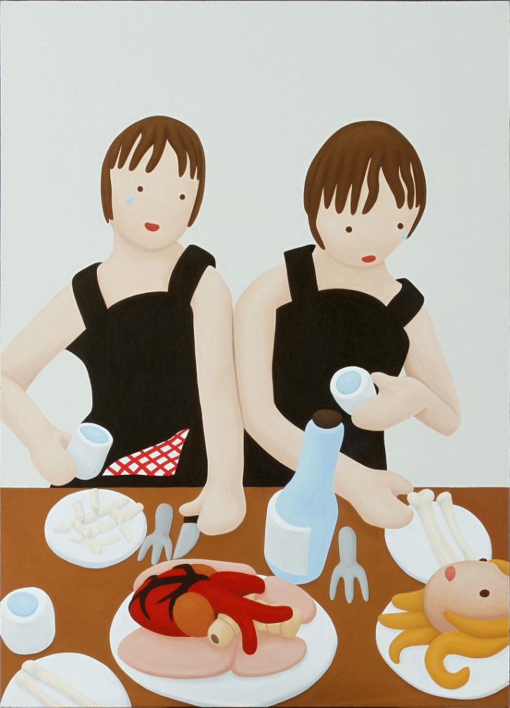Rosalía Banet. El banquete hambriento 3, 2010. Óleo sobre lienzo. 180 x 130 cm