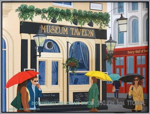 Museum Tavern, óleo y acrícilo s/aluminio y metacrilato (90 x 120 cm), de Virginia Kelle. Imagen cortesía de la artista.