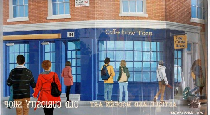 Cofee house teen, óleo y acrílico s/aluminio y metacrilato (90 x 150 cm), de Virginia Kelle. Imagen cortesía de la artista.