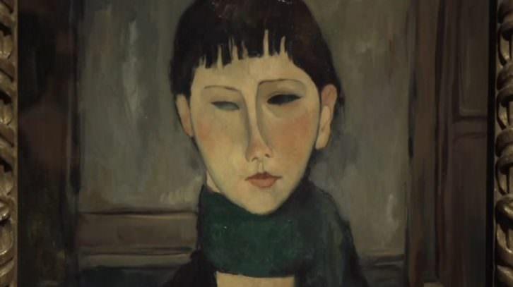 Uno de los falsos Modigliani expuesto en Génova.