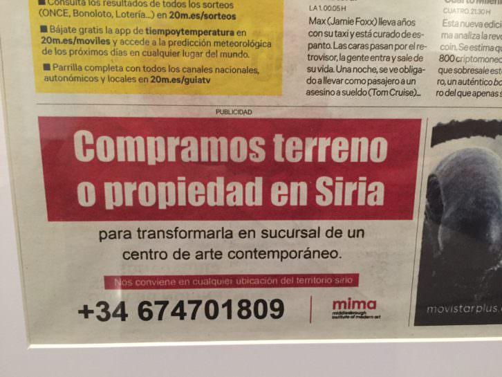 Nuria Güell y Levi Orta, anuncio de compra de terreno en Siria. Imagen cortesía del Centre del Carme.