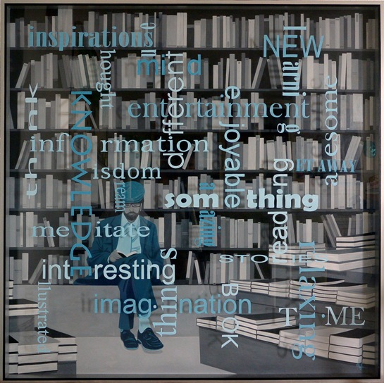 UNKNOWN READER, óleo y acrílico s/aluminio y metacrilado (150 X 150 cm), de Virginia Kelle. Imagen cortesía de la artista.