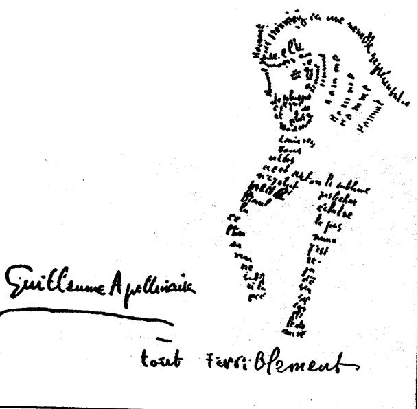 Caligrama de Guillaume Apollinaire. Imagen cortesía colección particular.